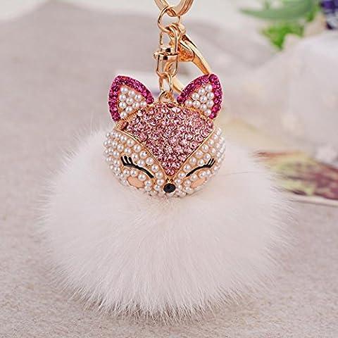 Xinan Key Chain Pelzkugel mit künstlichen Fox Head Inlay Perle