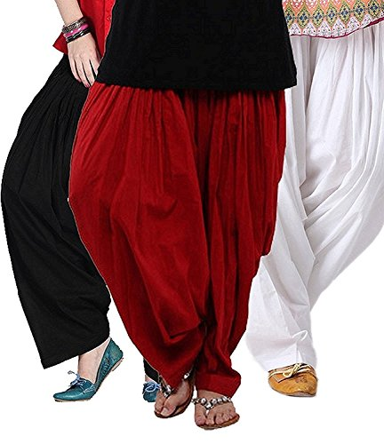 Textile Export Cotton Semi Patiala Salwar 3 ps Combo Free Size (_Black , Mharoon and White_Free Size)