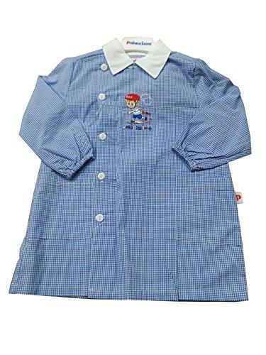 Primo della classe grembiule asilo bambino quadri cielo scuola materna per maschietto (art. 7p503) (65-6 anni)