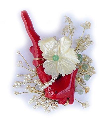 Spilla in bronzo corallo, madreperla, giada, quarzo
