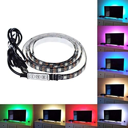 Kopfschmerzen Kümmern (TV Hintergrundbeleuchtung USB LED Licht, 1.5m(4.92ft) 45 LEDs Computerbildschirm Gehäuse Dekor Streifen Licht/Wasserdicht 5050 Multi-Color RGB Mini Controller Light Kabel für TV/PC/Laptop)
