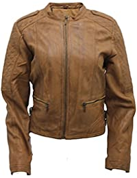 Ladies Stylish Tan Nappa Leather Quilted Biker Jacket