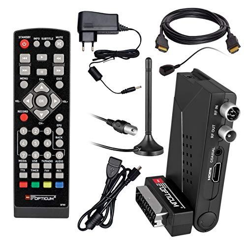 HB Digital DVB-T/T2 Set: Opticum HD AX Lion Air 2 HEVC DVB-T/T2 Receiver + Stabantenne, Magnetfuß, 3m Kabel FM, DAB Passive Antenne (Full HD, HEVC/H.265, HDTV, HDMI, SCART, USB 2.0 DVBT DVBT2 DVB-T2) -