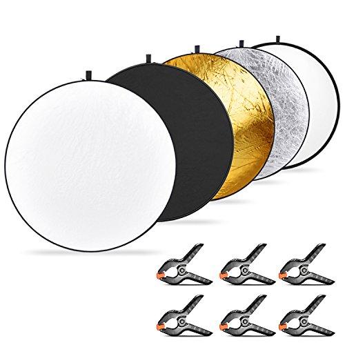 Neewer 5-en-1 Multi-Disco Reflector de Luz Plegable 110 centímetros (Translúcido/Plateado/ Dorado/Blanco/Negro) y 6-Pack Pinzas de Resorte Muselina de Fondo para Fotografía Estudio o al Aire Libre