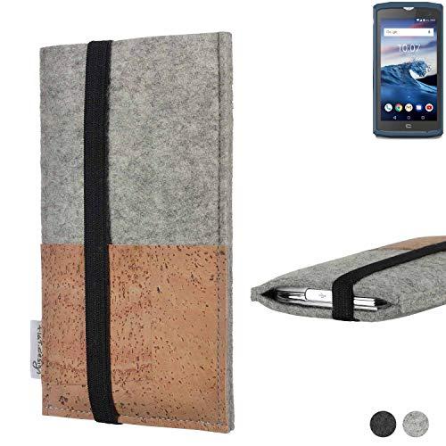 flat.design Handy Hülle Sintra für Crosscall Core-X3 Handytasche Filz Tasche Schutz Kartenfach Case Kork