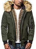 OZONEE Herren Winterjacke Parka Jacke Kapuzenjacke Wärmejacke Wintermantel Coat Wärmemantel Warm Modern Täglichen 777/473K GRÜN L