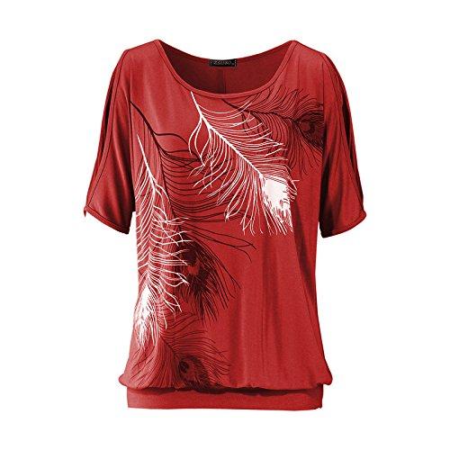 Hippolo Schulterfreies Damen Oberteile Kurzärmelig Sommer T Shirt für Standurlaub mit Feder Motiv Tops Shirt (XXL, Rote) Passen Sie Ihr Eigenes T-shirt