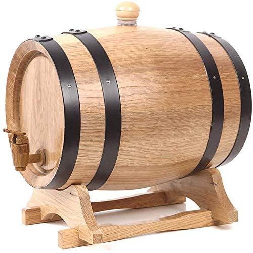 JLDN 1,5L Barril de Vino, Barril de Madera de Roble Envejecimiento Barril con Grifo Soporte sin Fugas...