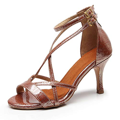 Frauen Cross Strap Open Toe Leder Latin Salsa Tango Cha-Cha Rumba Tanzschuhe Ballsaal Party Braut Flared Heel High Heel,Brown(heel:7.5cm),38EU
