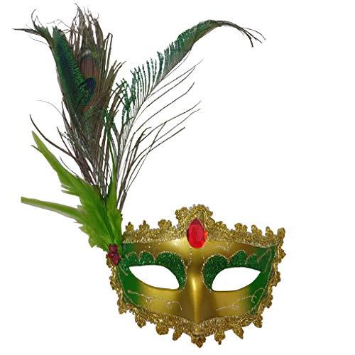 Countonme Halloween-Haarband mit Schleier, Vintage-Stil, Schwarz, Mesh-Edelstein-Krone, Maskerade, für Damen, Cosplay, Kopfschmuck One Size Painting-Green
