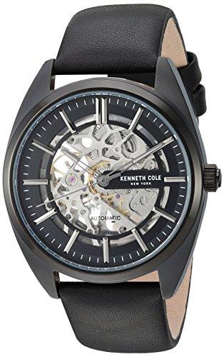 Kenneth Cole New York orologio casual uomo automatico in acciaio INOX e pelle, colore: Nero (Model: KC50064001)