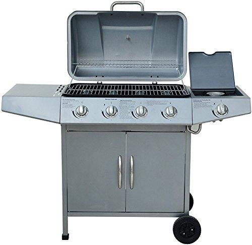 broil-master BBQ Gasgrill 4+1 silber DE/AT/CH mit Grill Temperaturanzeige