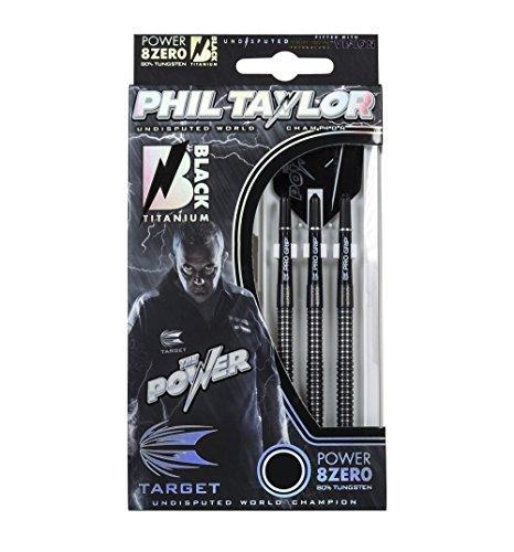 Target POWER Phil Taylor 8ZERO BLACK TITANIUM SOFT TIP DARTS 19g inkl. 1 Satz EMPIRE®TM Flights