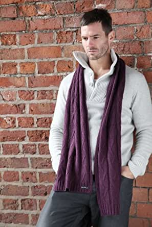 Mens Fraas Warm Cable Knit Scarf - One Size - Purple