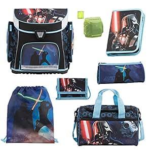 Star Wars Schulranzen Set 7tlg. Sporttasche, Federmappe, Regen/Sicherheitshülle Ranzen SW blau