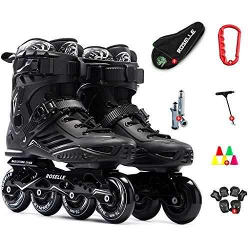 CHEXIAOlbx Inlineskates Erwachsene Anfänger Skates Männer Und Frauen Rollschuhe Erwachsene Flache Schuhe Professionelle Inlineskates (Color : Black, Size : EU 42)