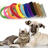 Befied 12 Farben Welpenhalsbänder für Züchter Welpenhalsband Halsband Klettband Kittenhalsbänder Wiederverwendbare Adjustable Waschbar Halsbänder Klett