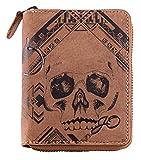 Geldbörse mit Reißverschluss Leder Braun Motiv Totenkopf I Geldbeutel naturbelassen Hochformat 10,5 x 13,5 x 2,5 cm Joriginal