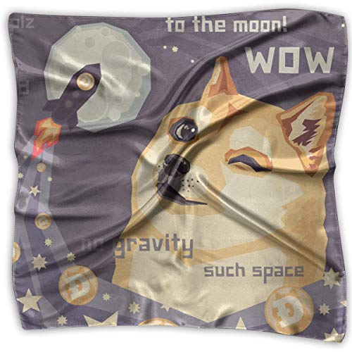 Xukmefat Square Satin Headscarf Wow Astronaut Doge Silk Like Lightweight Hair Wrapping Neck Square Scarfs Large