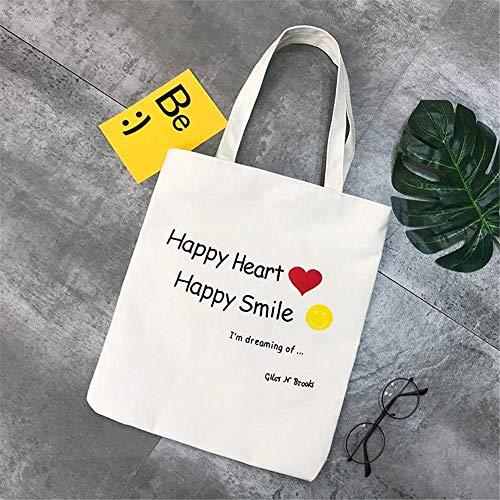 Wghz Frauen Umhängetasche, Canvas Diagonale Tasche, grüne Einkaufstasche, literarische Studentin Stil, vielseitige Mode, einfach und lässig, weiß, rotes Herz, lächelndes Gesicht - White Heart Handtasche