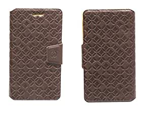 J Cover Vachetta Series Leather Pouch Flip Case With Silicon Holder For Micromax yureka plus Brown