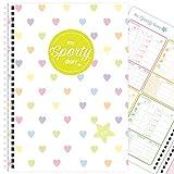 My Sporty Diary (12 Monate) Übungsplaner, Fitnessplaner, Fitness-Tagebuch, handgemacht, A5 (Rainbow Hearts)
