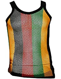 100% Cotton Rasta STRING VEST Mesh Fishnet Fitted Striped Black Red Green Yellow Colours
