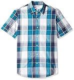 Amazon Essentials - Camicia da uomo a maniche corte, in popeline, stile casual, Slim Fit, Teal/Navy Large Plaid, US M (EU M)