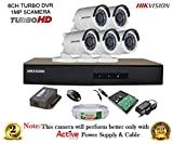 #8: Hikvision Turbo DS-7208HGHI-E1 8CH DVR + Hikvision HD DS-2CE16COT-IR Bullet Camera 5Pcs + 1TB HDD + Active Cable + Active Power Supply (Full Combo)