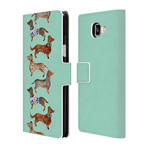 Ufficiale Cat Coquillette Bassotti blu Animali Cover a portafoglio in pelle per Samsung Galaxy A5 (2016)