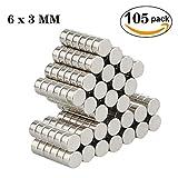 Aitsite Neodym Magnete, 105 Stücke Ultra-starke Supermagnete 6 x 3 mm Mini Magnete für Whiteboard, Magnettafel, Magnetstreifen