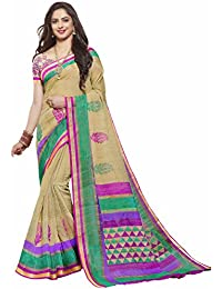 Miraan Women's Blended Saree With Blouse Piece (Srh151_Multi-Coloured)