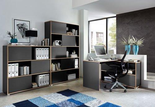 3-tlg. Büromöbel-Set: Eckschreibtisch 120 x 120 cm, Schiebetürenregal H: 196 cm,