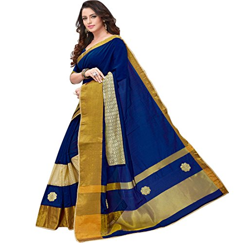 Pramukh Suppliers Women's Cotton Navy Blue Embroidered Saree With Blouse Piece (1B_NB sarees for women latest design party wear)