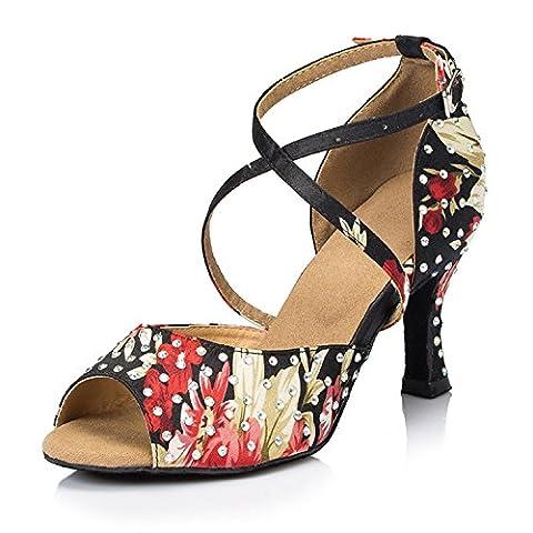 Miyoopark Ladies Floral Cross Strap Black Satin Latin Dance Sandals
