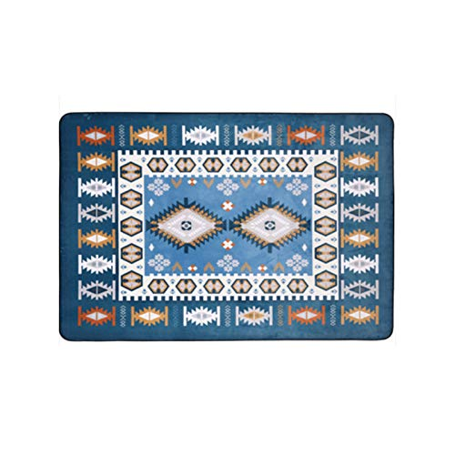MU Carpet - European Mediterranean Teppich/Wohnzimmer Schlafzimmer Bedside Full Shop Couchtisch Teppich/Verdickt Einfacher Rechteckiger Teppich,Blau,190 x 280 cm -