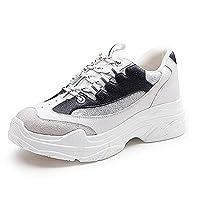 Aegilmcii Chunky Sneaker Dad Shoes Female Autumn Winter Thick White Black Sneakers,Black,XXL