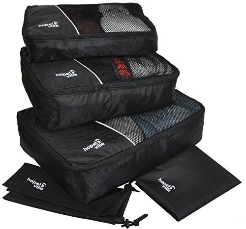Hopeville HOPEVILLE Kleidertaschen-Set 5-teilig, mit 3 Koffertaschen - Plus Einem Wäschebeutel und Einem Schuhbeutel, Premium Packing Cubes für perfekt organisiertes Reisegepäck (Schwarz)