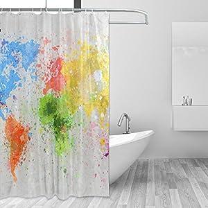 jstel Decor cortina de ducha de mapa del mundo pintura patrón impresión 100% tela de poliéster cortina de ducha 60x 72cm para el hogar baño decorativo ducha baño cortinas