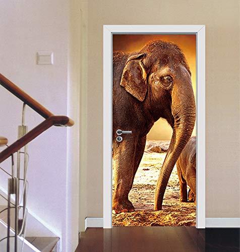 Türaufkleber Elefant Wildtier Tor Dekoration Benutzerdefinierte Wohnkultur Wohnzimmer Dreidimensionale Tapete Heißer Verkauf Tür Aufkleber 77x200cm