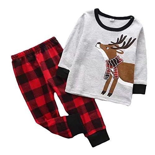 Kinder Weihnachten Schlafanzug - Baby Jungen Mädchen Lange Ärmel Hemd + Hosen Baumwolle Pyjamas Outfits Set Unisex Grau 4T