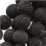 Yigo Runde Perlen aus echter schwarzer Lava 8 mm / 39,4 cm Strang