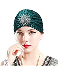 Schwarz /& Elfenbein Weiße Perle Feder Turban Kopfbedeckung 1920s Vintage Turban