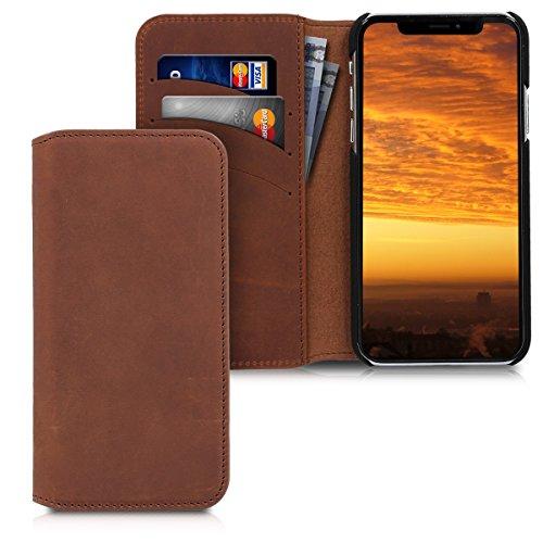 kalibri-Hlle-fr-Apple-iPhone-X-Wallet-Case-Handy-Schutzhlle-Echtes-Leder-Klapphlle-Cover-mit-Kartenfach-und-Stnder-Cognac