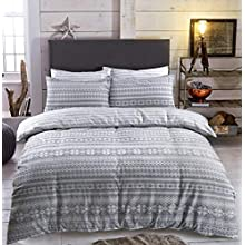 Sleepdown Fair Isle Grey Striped Abstract Reversible Soft Duvet Cover Quilt Bedding Set with Pillowcases - Double (200cm x 200cm)