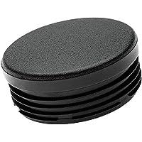 ajile - 12 piezas - Contera redonda acanalada para tubos - diámetro 16 mm - NEGRO