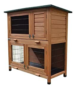 BUNNY BUSINESS 2 Tier Rabbit Hutch and Run Guinea Pig House Cage