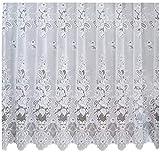 Fertiggardine 300cm x 180cm Gardine Store weiss Blumen Kräuselband Vorhang