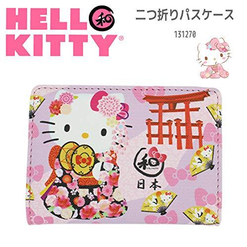 Sanrio Hello Kitty Bus-Ausweishülle für Karten, Motiv: Kitty Japanischer Kimono und Torii Pink 04 -