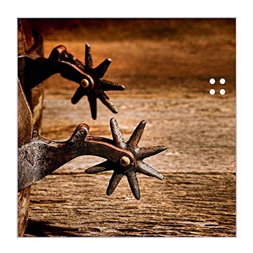BANJADO Glas Magnettafel beschreibbar 50 x 50 cm groß | Memoboard mit 4 Magneten | Glastafel mit Motiv Sporen | Pinnwand aus Glas magnetisch, Glas Magnettafel
